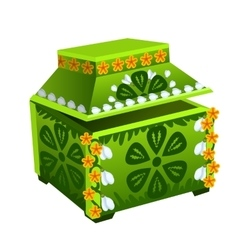 Green treasure chest with floral ornament vector image