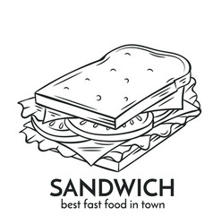 Hand drawn sandwich icon vector