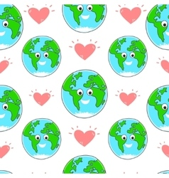 Happy Earth day seamless pattern vector image