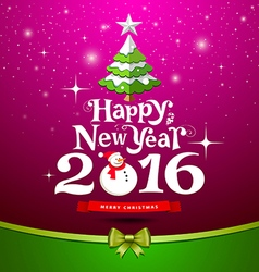 Happy New Year Greeting Card design on purple vector image vector image