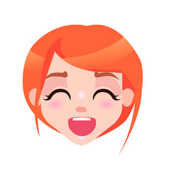 Laughing woman with closed eyes and open mouth vector