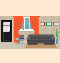 living room interior including furniture laptop vector image vector image