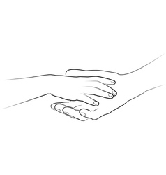 Mans hand holding a childs palm drawing vector
