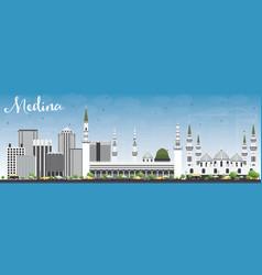Medina skyline with gray buildings and blue sky vector