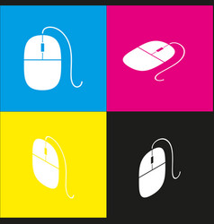 Mouse sign white icon with vector