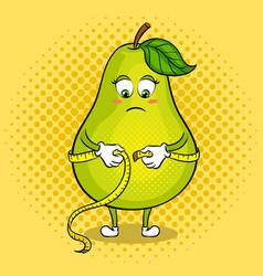 Pear measuring waist pop art vector