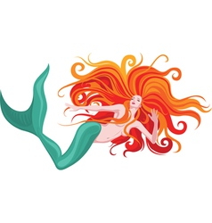 Red-haired mermaid vector