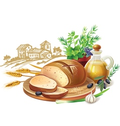 Rustic bread and wheat ears vector