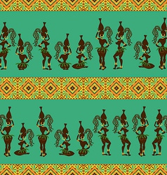 Seamless pattern of african girls vector