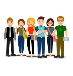 Set of diverse college or university students vector image vector image