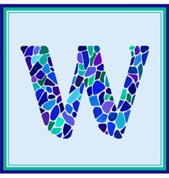 W - letter - green watercolor mosaic vector