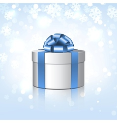 White gift box with a blue bow vector image vector image