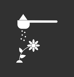 White icon on black background fertilizer and vector