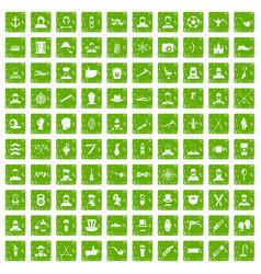 100 beard icons set grunge green vector