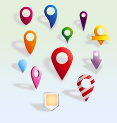 12 colorful map pointers vector