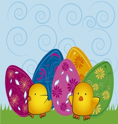 Easter eggs with chicks vector