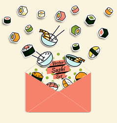 Meal rolls sushi set in paper mail envelope vector