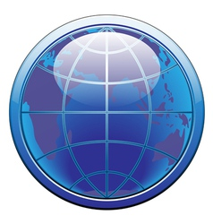 Earth glode web button vector