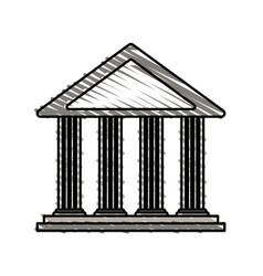Color crayon stripe cartoon skecth parthenon vector