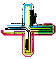Colorful grunge cross vector