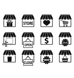 Black store icons set vector