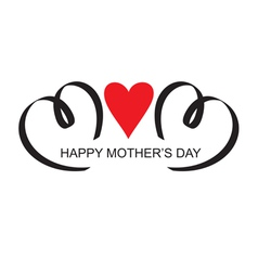 Moms day headline with heart handmade calligraphy vector