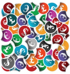 Currency stickers vector