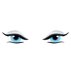 Blue womens charming eyes on a white background vector