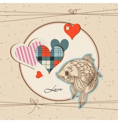 cute fish in love vector image