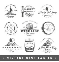 Set of vintage wine labels vector