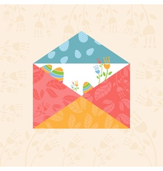 Concept Happy Easter envelope with flowers and vector image