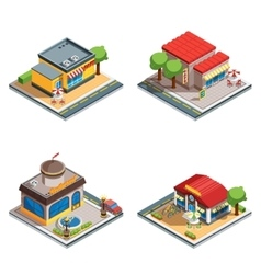 Cafe isometric icons set vector