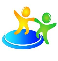Teamwork helping logo vector image