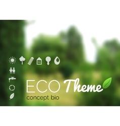 Blurred landscape forest ecology label vector
