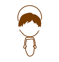 Brown silhouette of faceless image of baby jesus vector