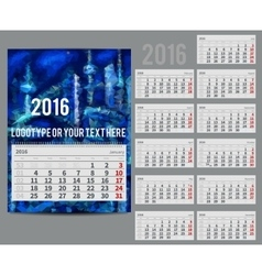 calendar 2016 - Planner for month vector image