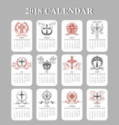 Calendar template easter crucifix design vector