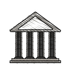Color crayon stripe cartoon skecth parthenon vector