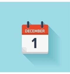 December 1 flat daily calendar icon date vector