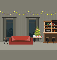 decorated room interior with christmas tree vector image