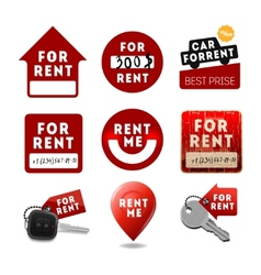 For rent signs real estate icons labels vector image
