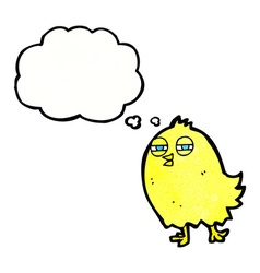 Funny cartoon bird with thought bubble vector