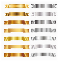 gold and silver banners vector image vector image