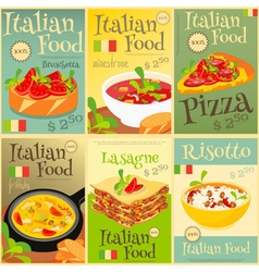 Italian food posters set vector