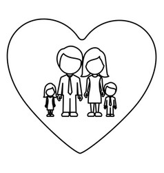 Monochrome contour of heart with faceless family vector