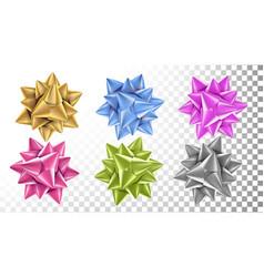 realistic bow set beautiful bright ribbon vector image vector image