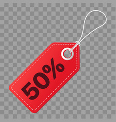 Realistic discount red tag isolated on checkered vector