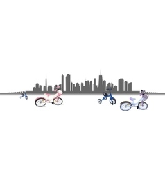 Riding a Bike in the City vector image