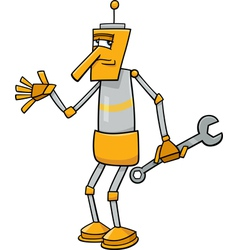 Robot with wrench cartoon vector