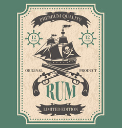 Rum vintage label at pirate theme vector
